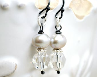 Silver Freshwater Pearl Fashion Earrings, Crystals, Sterling Silver, Dangle, Light Grey Freshwater Pearls, Vintage Inspired Earrings