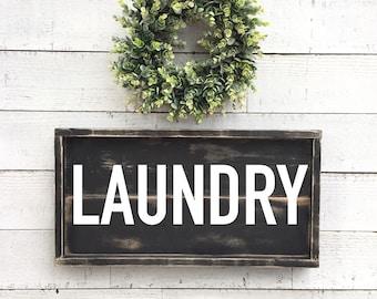 Laundry sign, black framed shiplap, vintage home Decor