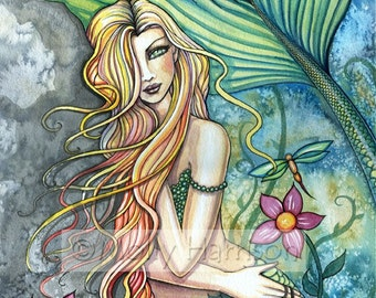 Fresh Water Mermaid Fantasy Fine Art Giclee Print by Molly Harrison 9 x 12