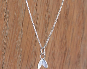 Silver Leaf Necklace - Silver Cress Necklace - Tiny Silver Pendant with a Delicate Figaro Chain
