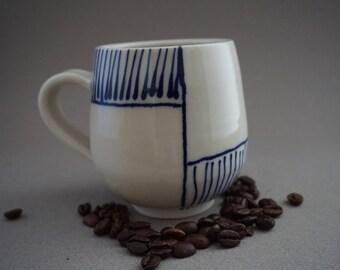 Blue and white coffee mug Coffee mug Pottery coffee mug Handmade coffee mug