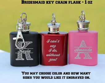 Bridesmaid gift, Bridesmaid flask, bridal party gift, I can't say I do without you, personalized bridesmaid gift, pink flask, mini flask