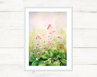 Watercolor with flowers, for mother's day. Gift Idea Print 21x29 cm