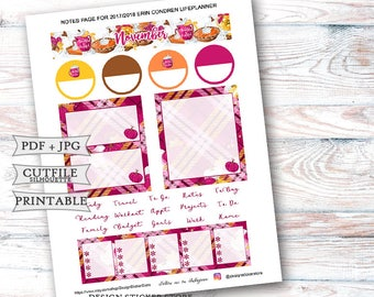November 2017 Notes Page Stickers for Erin Condren Lifeplanner/Printable Notes Page Stickers/Thanksgiving Planner Stickers/November Monthly