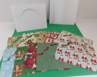DIY Christmas Greeting Card Kits / Create your own Stand up cards, die cut Christmas Papers, Create your own Greeting Cards, DIY card kits
