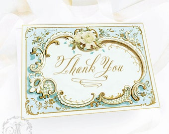 Thank You printable card, Thank You Card,  vintage style, printable wedding stationery, thank you digital download, Personal use only