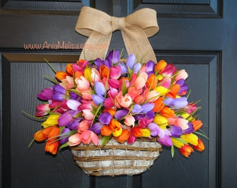 spring wreath, summer wreaths, Mother's Day wreath, front door wreaths, multicolor tulips outdoor wreath spring wreaths