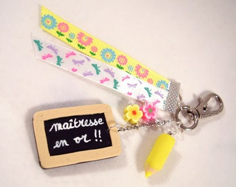 "Keyring or bag charm ""Mistress of gold"" yellow and white"
