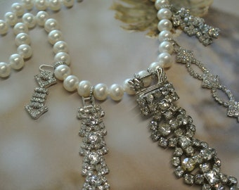 Vintage Pearl and Rhinestone Assemblage Necklace, Repurposed Bracelet Parts, Eclectic Gift, Found Treasures, One of a Kind By UPcycled Works