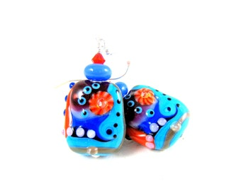 Turquoise Blue Orange Earrings, Statement Earrings, Lampwork Earrings, Glass Earrings, Blue Orange Pink Earrings Dangle Earrings  Hullabaloo