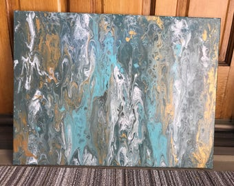 Gold and Turquoise Marble Painting