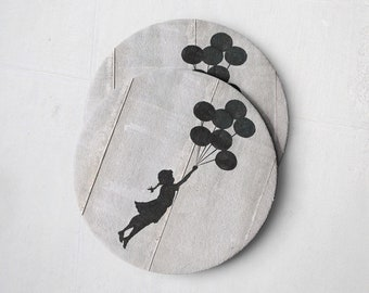 Banksy Drink Coasters – Absorbent Coaster Set of 10 – Coasters for Women & Men – Heavyweight Reusable Thick Pulpboard - Balloon Girl