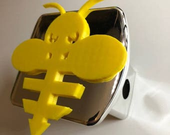 Very Cute Bumble Bee   in 3d - Chrome  with Yellow - 2 inch Trailer Hitch Cover  -  Hunting