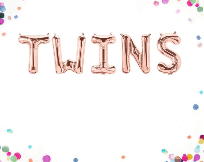 Twins Balloons, Twins Balloons Rose Gold, Twins Baby Shower, Twins Balloons for Gender Reveal, Twins Announcement Sign