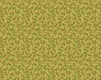 """NEW Chicks on the Run Craft 100% Cotton Quilt Fabric 44"""" wide X ONE Yard -Green Leaves"""