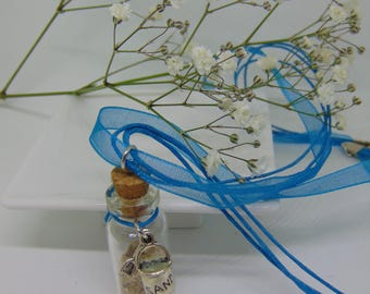 Sand Necklace with silver bucket & spade charm attached + tag: quoting Psalm 139 v 17-18.