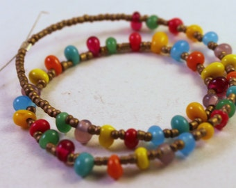 Strand of Colorful Glass Drop Beads and Gold Seed Beads, Wholesale Beads