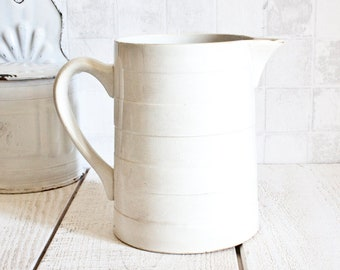 Large Ironstone CHOISY LE ROY Stripes White Pitcher || Antique French Pitcher - Shabby Chic Decor