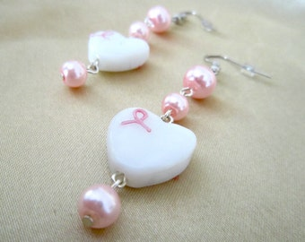 White Heart with Pink Ribbon Earrings with Pink Glass Beads