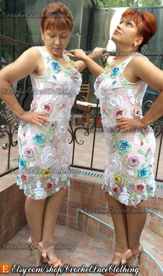 Spitze Kleid weiß floral Anlass häkeln irische Spitze Hochzeit