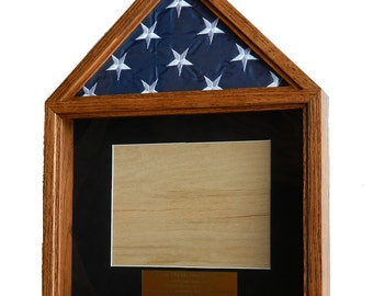 Military Retirement Shadow Box, American Flag and Certificate Wood Display Case, 3 x 5 Folded Flag, Engraved, Army, Air Force, Navy,