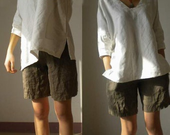002---High Quality Linen Shorts.