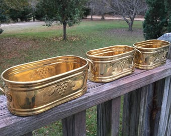 3 Vintage Oval Brass Nesting Planters--Small Succulent Planters--Farmhouse Decor--Hollywood Regency Accents--Hostess Gift