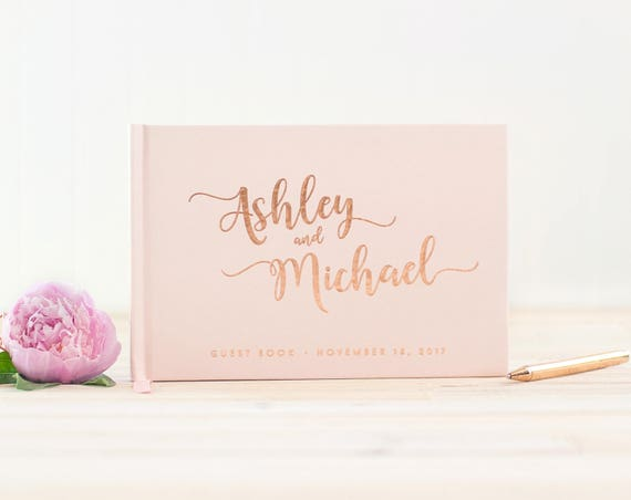 Wedding Guest Book landscape guestbook horizontal wedding book Rose Gold Foil hardcover wedding guest book Personalized wedding journal