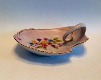 Hand Painted Ring Dish Vintage Porcelain, Bedside Ring Holder Shabby Chic