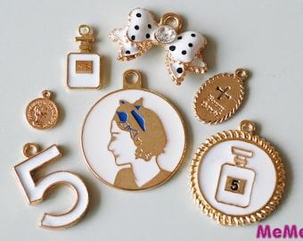 """1 Set 7 Pcs Gold Charms Alloy Medallion """"Ladies"""" Coin Cross Kawaii Bracelets Pendants Studs Cabochon Deco Den Phone Case DIY Deco kit PP042"""