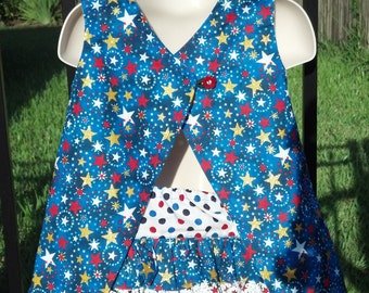 Patriotic Themed Reversible Open Back Pinafore with Matching Ruffle Bottom Diaper Cover - 2 Piece Set