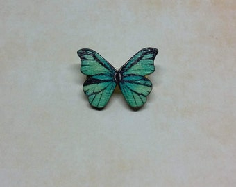 Brooch with wood green and black Butterfly