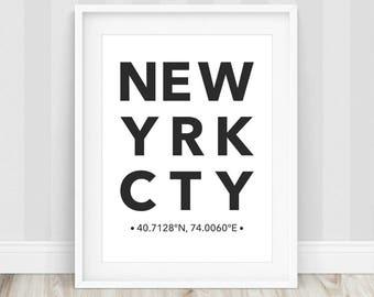 New York Poster - New York City Print, NYC Poster, New York Coordinates, Minimalist Decor, New York Art Print, Typography Prints