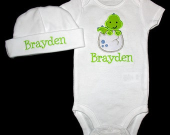 Custom Personalized Applique DINOSAUR in EGG and NAME Bodysuit and Hat Set - Lime Green and Blue