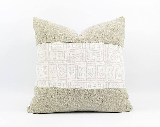READY TO SHIP Hand Block Printed Linen And Belgian Linen Pillow Cover 20x20