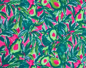 Cotton fabric squares and pieces 6 X 6, 9 X 18  or 18 X 18 inches Guac and Roll / pieces   ~Authentic Lilly Pulitzer~