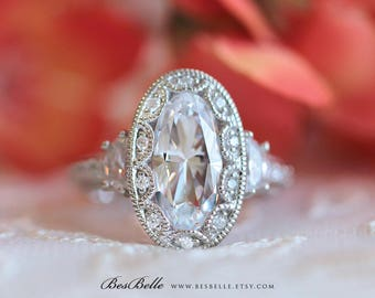 5.0 ct.tw Art Deco Ring-Engagement Ring-Oval Cut Diamond Simulant W/ Half Moon Side Stones-Wedding Ring-Vintage Ring-Sterling Silver [8819]