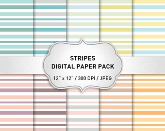 Stripes Digital Paper Pack, Digital Paper Stripes, Stripes Background, Stripes Digital Paper, Scrapbooking Paper, Instant Download