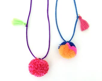 girl necklace - kids necklace - kids jewelry - girl gift - teen gift - pom pom necklace - neon jewelry - pom pom jewelry - tassel necklace