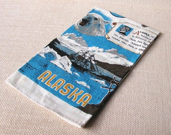 Vintage Alaska Souvenir Linen Tea Towel, R. Batchelder, 49th State, unused