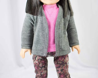 "American Girl or 18"" doll Gray CARDIGAN Jacket and Pink SWEATSHIRT Top with  LEGGINGS Jeggings Tights in Pink Gray Floral Print"