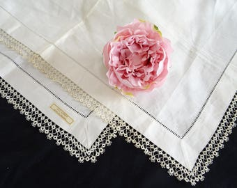 Beautiful Unused Vintage white Irish linen table topper with hand tatted lace