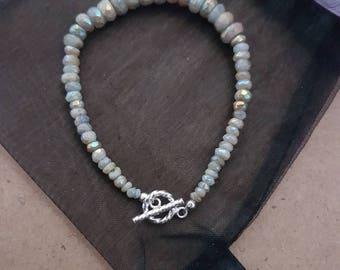 Mystic Coated Aquamarine Faceted Rondelles 925 Sterling Silver Bracelet.