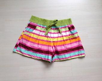 Cotton woman summer shorts board shorts surf shorts 2 in 1 shorts / pastel stripes print