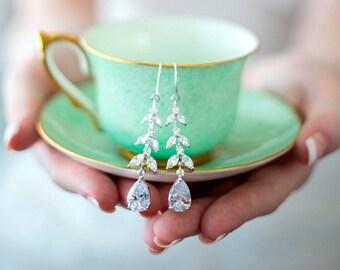 Wedding Earrings, Crystal Earrings, CZ Bridal Earrings, Pearl Earrings, Drop earrings