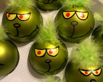 My grinch inspired ornaments