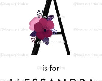 Alessandra Hand Lettering Watercolor Printable Floral Lettering Kids Wall Art Baby Girl Gift Kids Printable Stationary Printable Wall Art