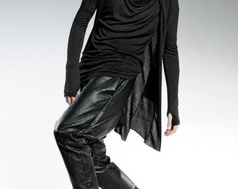 Gothic Clothing, Men Kimono Cardigan, Steampunk Clothing, Modern Kimono Top, Men Fashion Wear, Asymmetrical Cardigan, Black Kimono