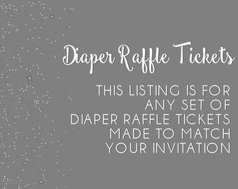 Diaper raffle tickets, add-on, made to match, DIY, baby shower diaper raffle