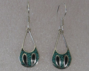 "Vintage Turquoise Onyx Inlay Sterling Tear Drop Hoop Earrings 1 3/8""Long"